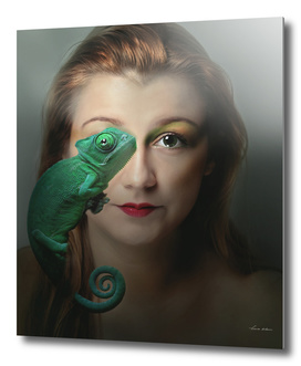 woman and green chameleon