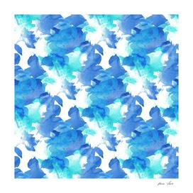 Blue Watercolor Foliage Pattern