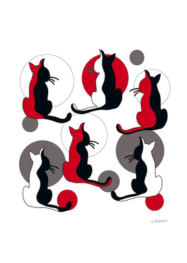 Red abstract cats