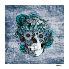 Blue grunge sunflower skull