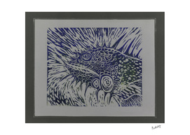 Iguana linocut in Blue_Craftiespot