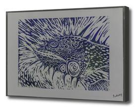 Iguana linocut in Blue_Craftiespot