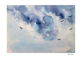 Dramatic sky || watercolor