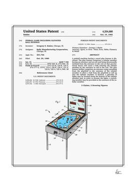 Pinball Machine Patent