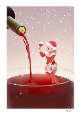 Santa Cat Holding Glass Red Wine