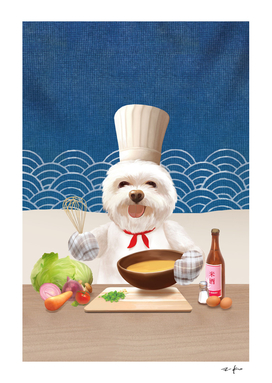 Dog Chef Cooks Soup for Friends