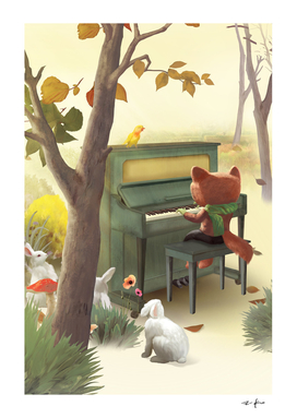 Fox Playing Piano