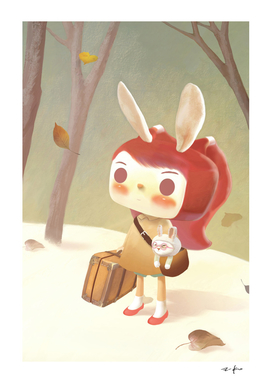 LostLittle Girl Lost in A Forest with Suitcase