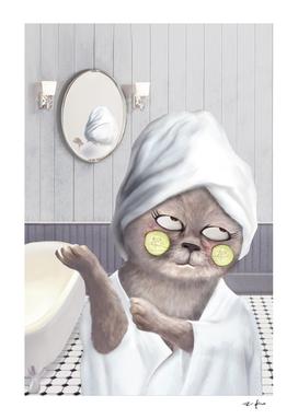Funny Cat in Bathroom