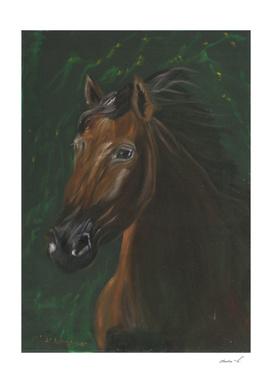 Brown horse on green velvet