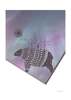 Northern bear with lavender polar lights