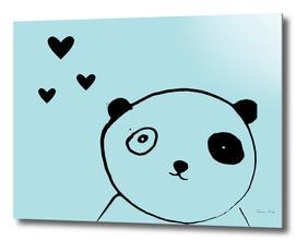 panda in love blue