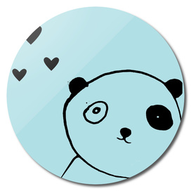 panda in love blue