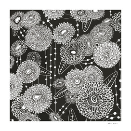 Asters rain in black and white