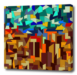 The Town.polygonal mosaic background. Brown-blue.