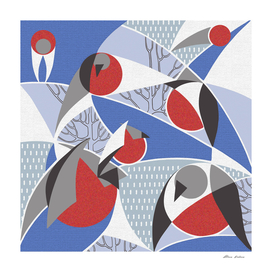 Birds bullfinches in blue, red and grey colors