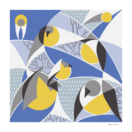 Birds bullfinches in blue, yellow and grey colors