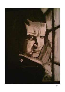 Black and White Acrylic painting of my nephew