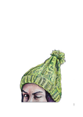 Girl with beanie hat