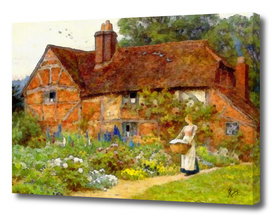 GIRL WITH WASHING BASKET IN AN ENGLISH GARDEN