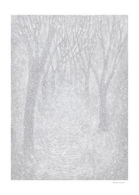 Winter landscape - snowfall in the park - illustratio