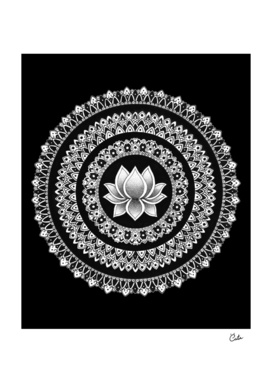 Black and White Lotus Mandala