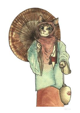 Umbrella Halfing Cat with Her Lantern