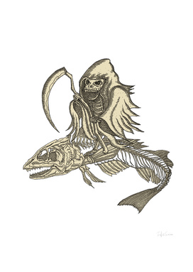 Dark Skeleton Knight with Fish Skeleton Vehicle