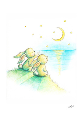bunnies and moon