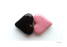 Two Sweet Colorful Marzipan hearts