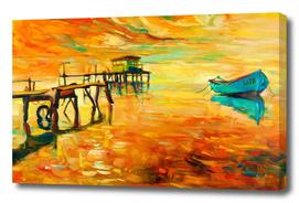 Boat on sunset