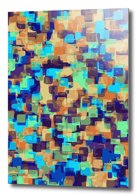 blue brown and orange square pattern