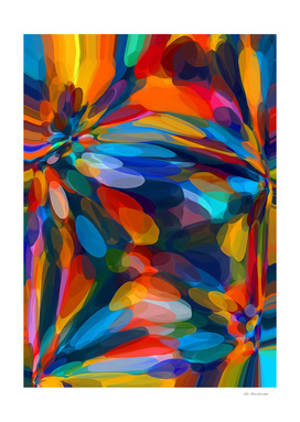 blue red orange yellow circle pattern abstract background