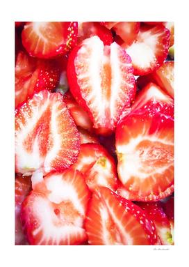 fresh chopped strawberries texture background