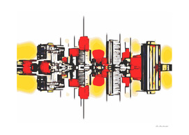 modern buildings with red yellow and white background