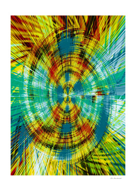 vintage psychedelic geometric abstract in blue green yellow