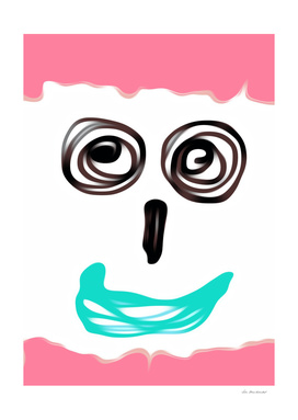 funny face with pink background and blue lip