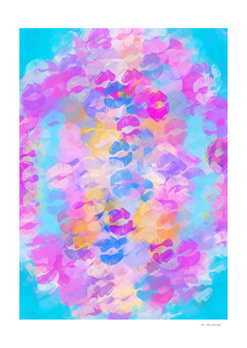 pink blue and purple kisses lipstick abstract background