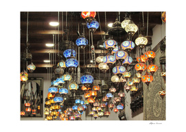 Colorful store lamps