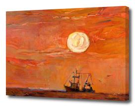 Fishing boat and moon