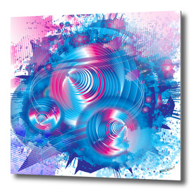 Psychedelic 3D Perception Blue and Purple abstract design