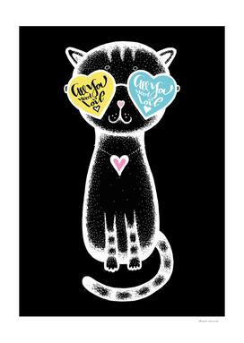 Black cat in glasses - Valentine's Day