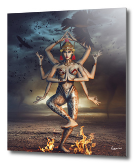Indian goddess with eight arms