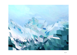 Geometric blue mountains