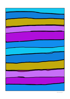 drawing and painting abstract pattern in blue pink yellow