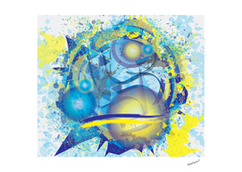 3D Yellow and Blue Orbital Cosmos