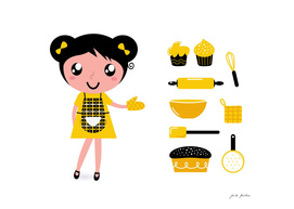 Kitchen girl : yellow and black Original art