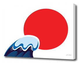 """Japanese """"SUN"""" with wave / RED BLUE"""