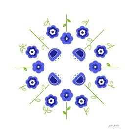 Folk ornaments : blue and white