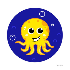 New stylish yellow Octopus on blue